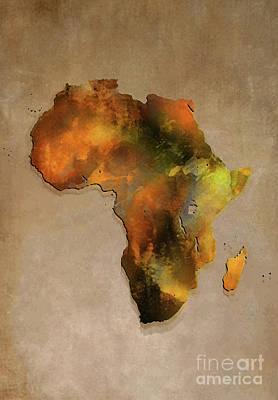 Africa Map Brown Art Print by Justyna JBJart
