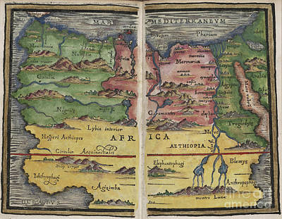 Photograph - Africa Map By Johannes Honter 1542 by Rick Bures