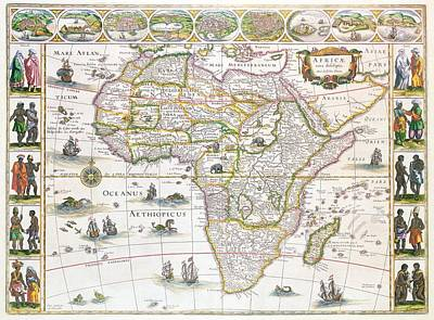 Madagascar Drawing - Africa Nova Map by Willem Blaeu