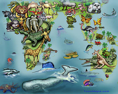 Door Locks And Handles - Africa Oceania Animals Map by Kevin Middleton