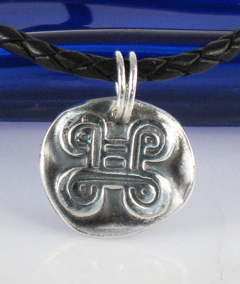 Jewelry - African Adinkra Adinkra Fine Silver Pendant - Knot Of Reconciliation - Peacemaking - Reconciliation  by Vagabond Folk Art - Virginia Vivier