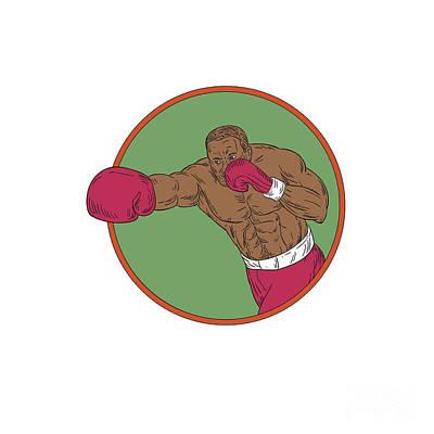 African American Man Digital Art - African-american Boxer Right Hook Circle Drawing by Aloysius Patrimonio