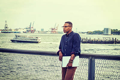 Photograph - African American Businessman Traveling On East River In New York 15082332 by Alexander Image