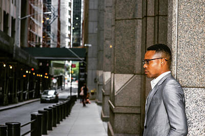 Photograph - African American Businessman Working In New York 15082324 by Alexander Image