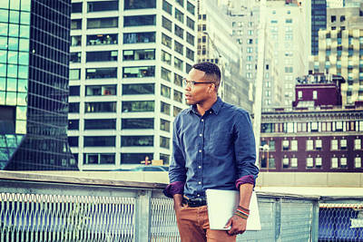 Photograph - African American College Student Studying In New York 15082329 by Alexander Image