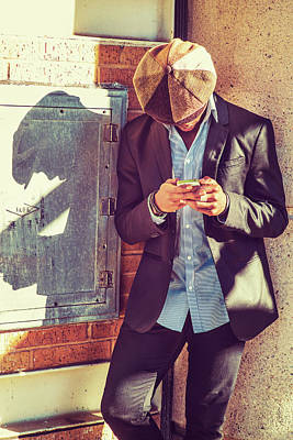 Photograph - Black Man Texting On Street by Alexander Image