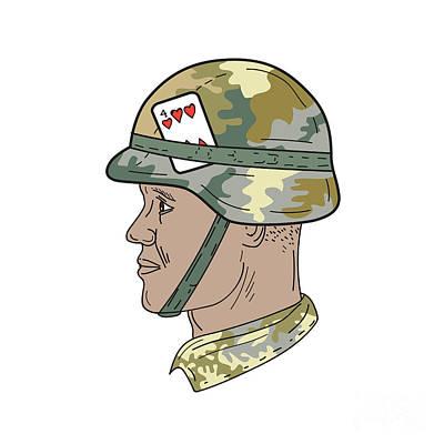 African-american Digital Art - African American Us Army Soldier Helmet Playing Card Drawng by Aloysius Patrimonio