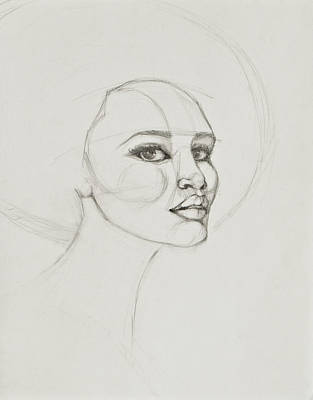 Drawing - African American Woman 2 by Jani Freimann