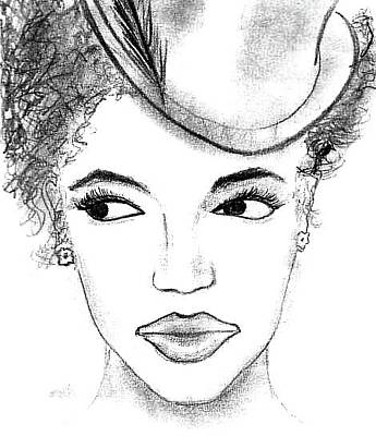 Drawing - African American Woman In Hat by Matt Harang