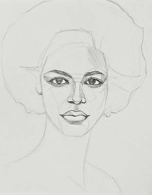 Drawing - African American Woman by Jani Freimann