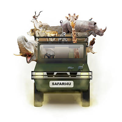Rhinoceros Photograph - African Animals In Safari Tour Vehicle by Susan Schmitz