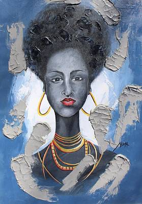 Painting - African Beauty by Daniel Akortia