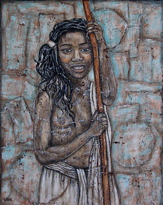 African-american Painting - African Beauty I by Rain Ririn