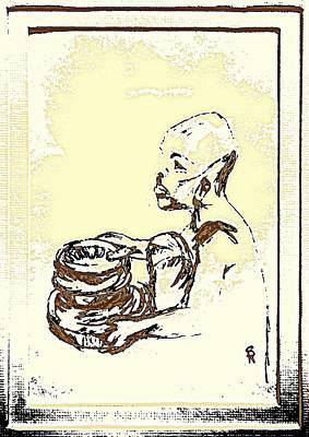 African Boy Brown Art Print by Sheri Buchheit