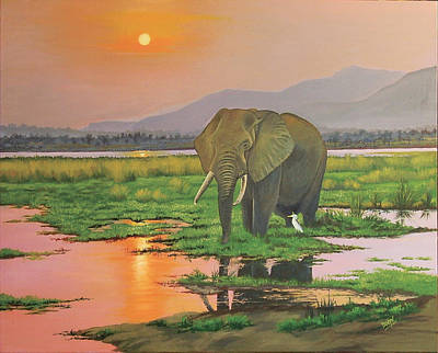 Painting - African Bull Elephant by Deon West