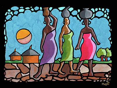 Curvy Beauty Painting - African Cat Walk by Anthony Mwangi