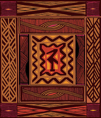 Digital Art - African Collage Rust by Vagabond Folk Art - Virginia Vivier
