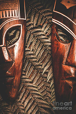 African Couple Masks Art Print