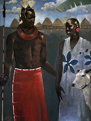 Painting - African Couple by Maury Hurt