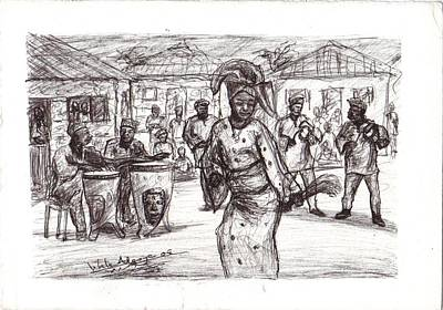 Drawing - African Dance by Wale Adeoye