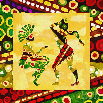 Folk Art Mixed Media - African Dancer by Olga Hamilton