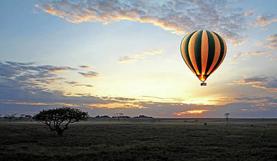 Photograph - African Dawn With Hot Air Balloon by Gill Billington