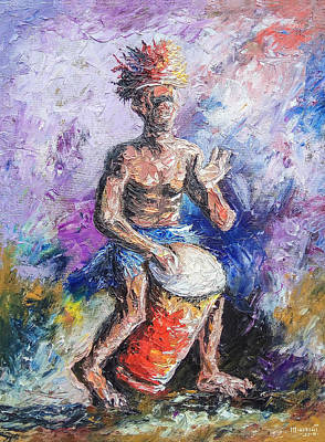 Painting - African Drummer by Anthony Mwangi