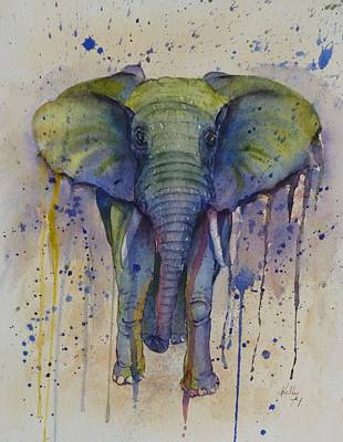 Painting - African Elephant Abstract Style by Kelly Mills