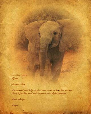 Art Print featuring the mixed media African Elephant by John Wills