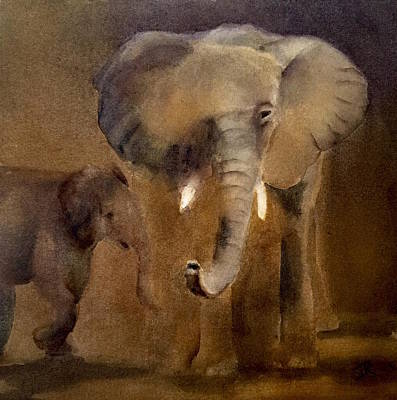 Painting - African Elephant by June Rollins