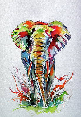 Painting - African Elephant by Kovacs Anna Brigitta
