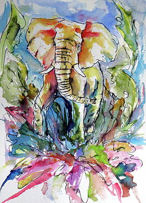 Painting - African Elephant Playing by Kovacs Anna Brigitta