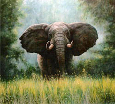 Painting - African Elephant by Riek  Jonker