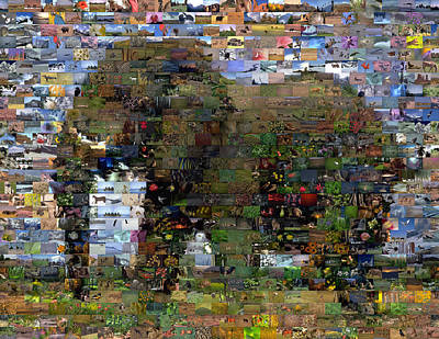 Art Print featuring the mixed media African Elephant Wild Animal Mosaic by Paul Van Scott