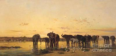 Pond Painting - African Elephants by Charles Emile de Tournemine
