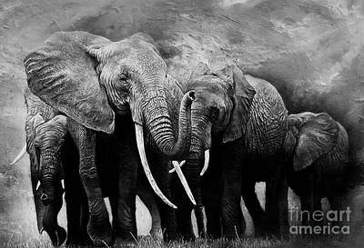 Elephant Mountain Painting - African Elephants Group  by Gull G