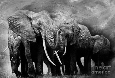 African Elephants Group  Original