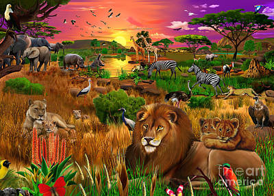 Lioness Digital Art - African Evening by Gerald Newton
