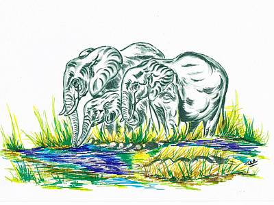 Sahara Drawing - African Family Elephant's by Teresa White