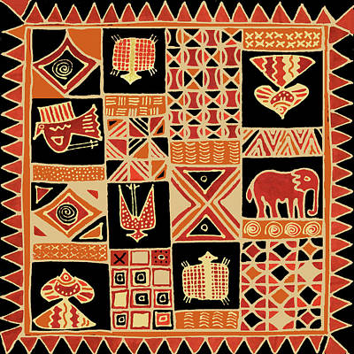 Digital Art - African Folk Art Batik by Vagabond Folk Art - Virginia Vivier