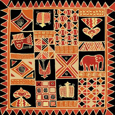 Digital Art - African Folk Art Batik by Vagabond Folk Art - Virginia Vivier