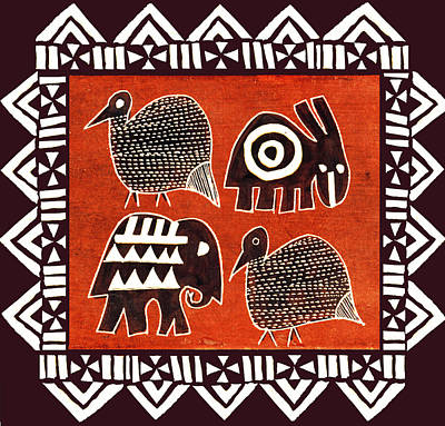 Digital Art - African Folk Art Party Animals by Vagabond Folk Art - Virginia Vivier