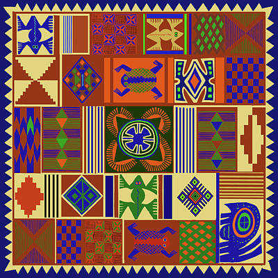 Digital Art - African Folk Art Quilt by Vagabond Folk Art - Virginia Vivier