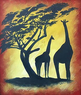 Painting - African Giraffes by Sean Ivy aka Afro Art Ivy