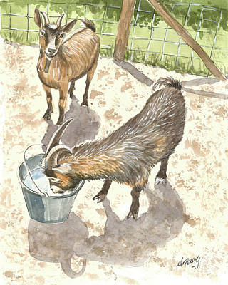 Painting - African Goats by Audrey Peaty