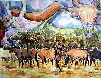 Painting - African Herdsmen by Bankole Abe
