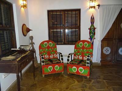 Explorason Photograph - African Interior Design 5 Beaded Chairs by Exploramum Exploramum