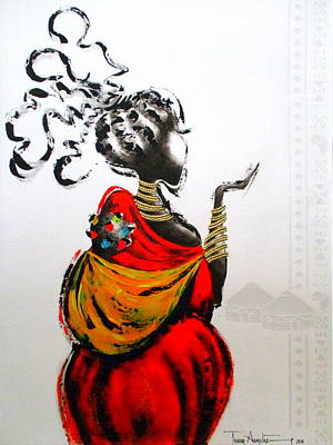 Painting - African Lady And Baby by Tracey Armstrong