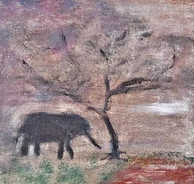 Painting - African Landscape Baby Elephant And Banya Tree At Watering Hole With Mountain And Sunset Grasses Shr by MendyZ