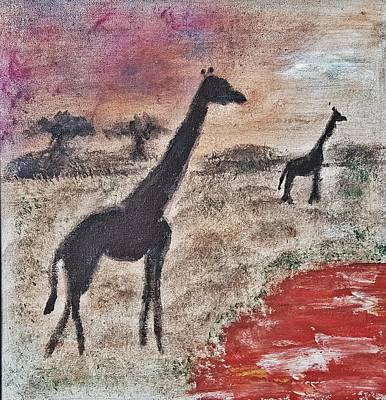 Painting - African Landscape Giraffe And Banya Tree At Watering Hole With Mountain And Sunset Grasses Shrubs Sa by MendyZ